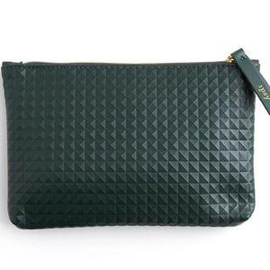 Dark Green Studded Cosmetic Bag